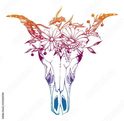 Cow, buffalo, bull skull in tribal style with flowers. Bohemian, boho vector ...