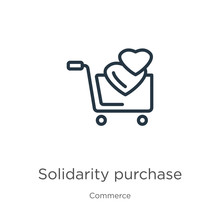 Solidarity Purchase Icon. Thin Linear Solidarity Purchase Outline Icon Isolated On White Background From Commerce Collection. Line Vector Sign, Symbol For Web And Mobile