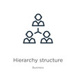 Hierarchy structure icon. Thin linear hierarchy structure outline icon isolated on white background from business collection. Line vector sign, symbol for web and mobile