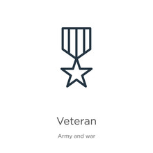 Veteran Icon. Thin Linear Veteran Outline Icon Isolated On White Background From Army And War Collection. Line Vector Sign, Symbol For Web And Mobile