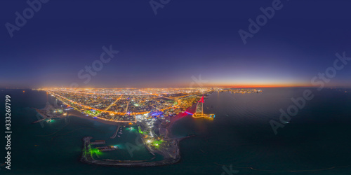 360 panorama by 180 degrees angle seamless panorama of aerial view of Burj Al Arab Jumeirah Island or boat building, Dubai Downtown skyline, UAE Canvas Print
