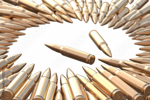 Photo Golden bullets AK-47 cartridges laying on the white background in shape of circle