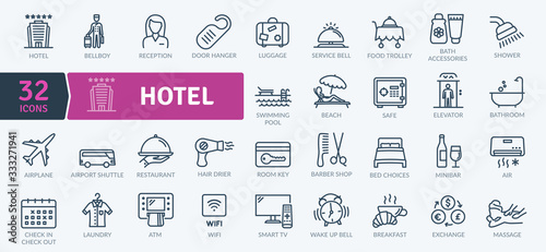 Fototapeta Hotel Icons Pack. Thin line icons set. Flaticon collection set. Simple vector icons obraz