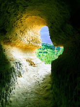 The Interior Of A Cave Carved ...