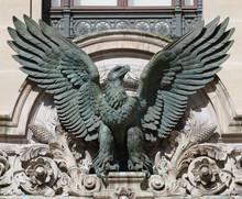 Bronze Sculpture Of Imperial Eagle On Opera Garnier In Parisabove The Door Of Palais Garnier, Paris, France