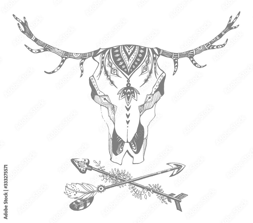 Fototapeta Cow, buffalo, bull skull in tribal style. Bohemian, boho vector illustration. Wild and free ethnic gypsy symbol.