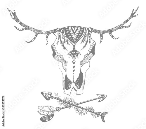 Fototapeta Cow, buffalo, bull skull in tribal style