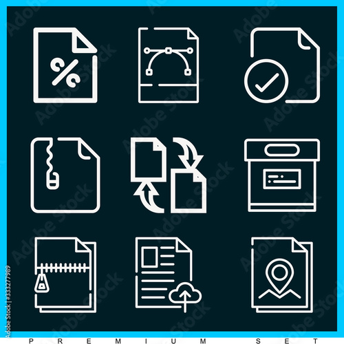 Fotomural Set of 9 bureaucracy outline icons
