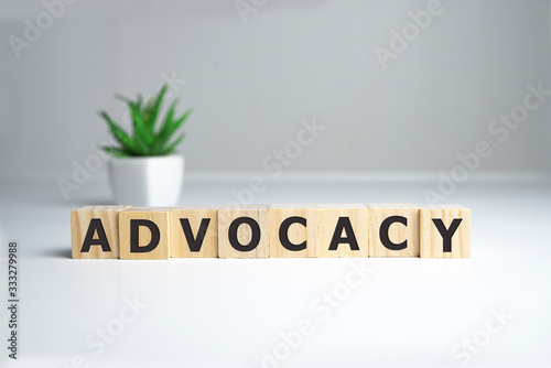 Photo ADVOCACY word made with building blocks, business concept