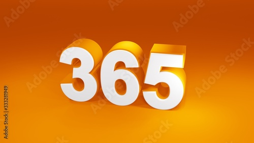 Fototapeta Number 365 in white on orange gradient background, isolated number 3d render