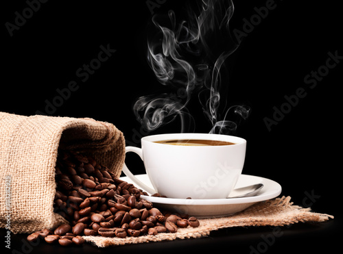 Fototapety, obrazy: Coffee beans in a bag and a cup with coffee