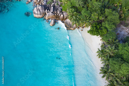 Obraz Anse Lazio beach aerial view in Seychelles Praslin Island  - fototapety do salonu