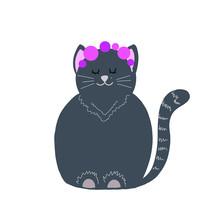 Cute Grey Vector Sleepy Cat With Roses Isolated Cartoon