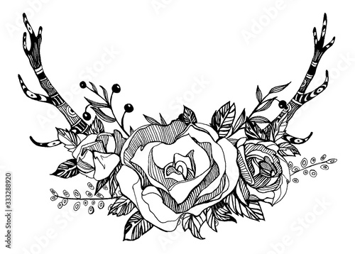Bouquet of flowers, roses, peony Wallpaper Mural