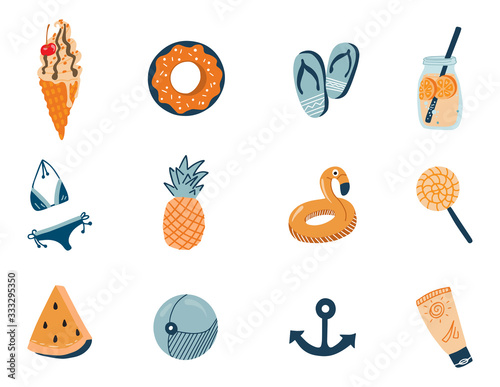 Vector set of cute summer icons: food, drinks, palm leaves, fruits and flamingo. Bright summertime poster. Collection of scrapbooking elements for beach party. Hand drawn.
