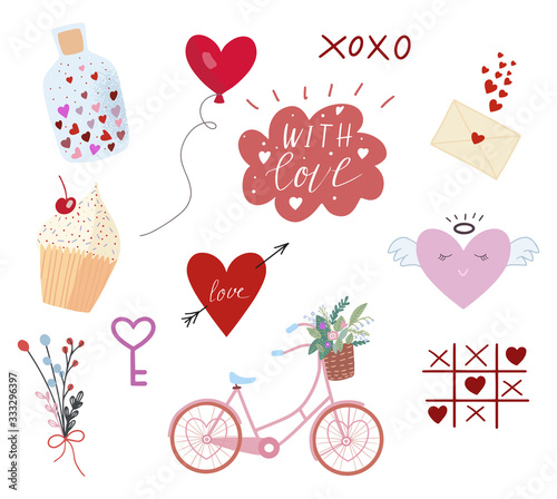 Vector set of hand drawn different Valentine's elements. Icons for your design. Happy Valentine's Day.