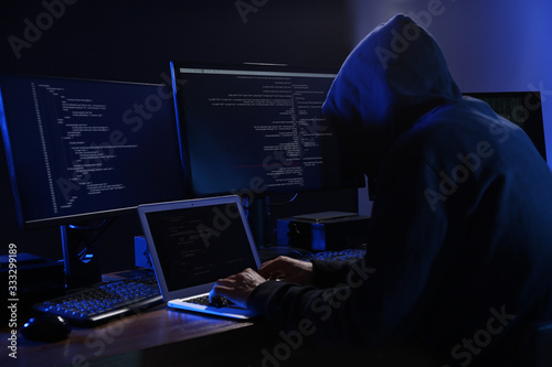 Hacker with computers in dark room. Cyber crime Fotobehang