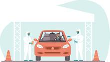 Coronavirus COVID-19 Drive Through Testing Site Concept