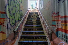 Underground Passage And Grafitti On The Walls And Stairs In Lisbon, Portugal