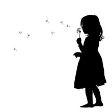 The Profile Of The Silhouette Of The Girl Blows Dandelion. Vector Illustration