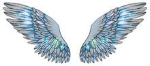 Beautiful Magic Light Fragile Glowing Shiny Blue Beige Wings, Vector