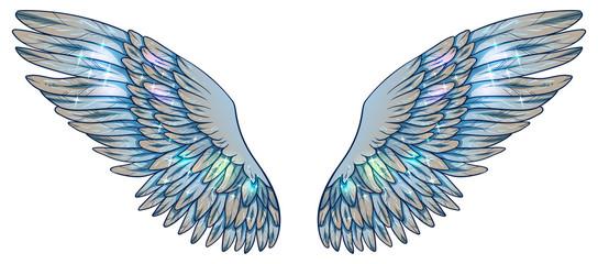 Naklejka Do sypialni Beautiful magic light fragile glowing shiny blue beige wings, vector