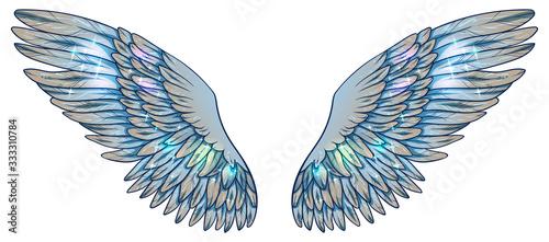 Beautiful magic light fragile glowing shiny blue beige wings, vector Fototapet