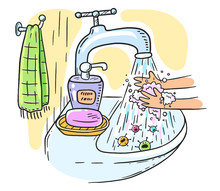 Handwashing With Soap Or Hand Hygiene Helps To Prevent Infections And Avoid Germs And Viruses