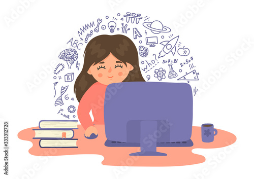 Online distance education. Cute girl studying school subjects using computer. Educational webinar, online learning technology vector illustration on white background.
