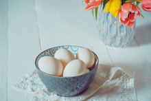 Farm Fresh White Eggs In Ceram...