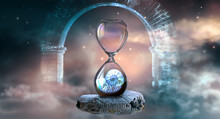 Hourglass Hovering In Space With Ammonite Inside Clock That Standing On Ancient Fossil Against Starry Cloudy Sky And Ghost Arch. Symbol Of Eternity, Extinction And Evolution, Time Is Over Concept.