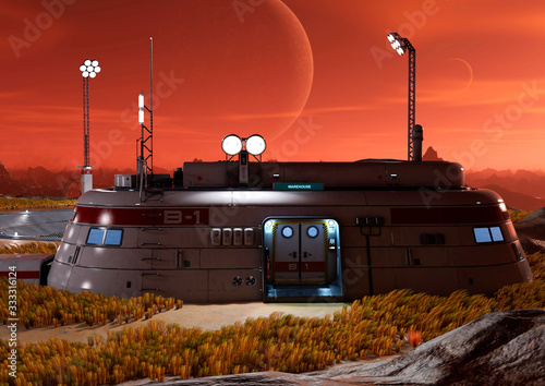 Canvas base in another planet picture taked from a front house view