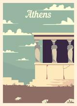 Retro Poster Athens City Skyline Vintage Vector Illustration.