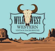 Western Vintage Banner With Bu...