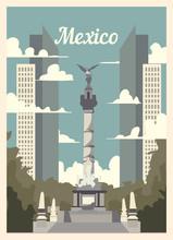 Retro Poster Mexico City Skyline. Mexico Vintage