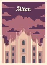Retro Poster Milan City Skylin...
