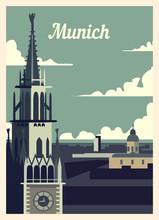 Retro Poster Munich City Skyline. Vintage Vector Illustration.
