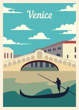 Retro Poster City Venice Skyli...
