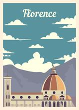 Retro Poster Florence Ity Skyline Vintage, Vector Illustration.