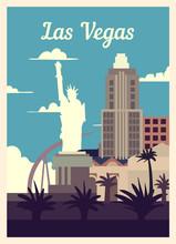 Retro Poster Las Vegas City Sk...