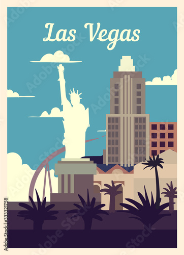 Fényképezés Retro poster Las Vegas city skyline vintage, vector illustration.