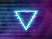 Glitch Retro Triangle. Glowing...
