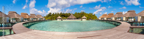 Leinwand Poster Maldives water villa - bungalows panorama