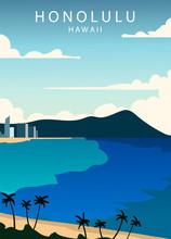 Poster Honolulu Landscape. Hon...