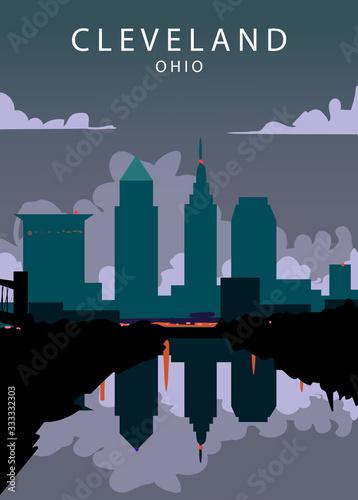 Fototapeta Poster Cleveland landscape. Cleveland vector illustration.