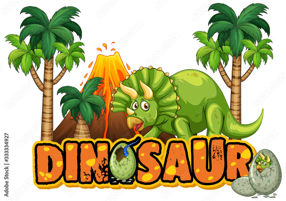 Fototapeta Font design for word dinosaur with triceratops in forest