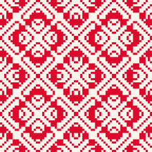 Vector Geometric Traditional Seamless Pattern. Christmas Holiday Theme. Fair Isle Ornament. Folk Ethnic Motif. Simple Abstract Ornamental Texture With Small Squares, Crosses. Red And White Background