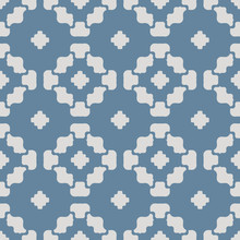Vector Floral Geometric Seamless Pattern. Simple Ornament With Flower Silhouettes, Curved Shapes, Crosses, Grid. Elegant Minimal Background. Modern Abstract Blue And Gray Texture. Repeatable Design