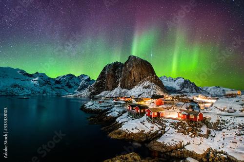 Fototapeta Aurora borealis over Hamnoy in Norway obraz