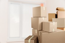 Cardboard Boxes In Room, Move Out Concept